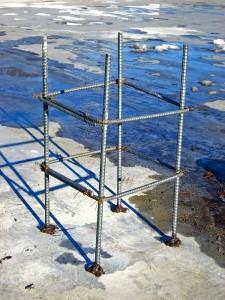 PV施工 鉄骨造陸屋根に架台基礎1